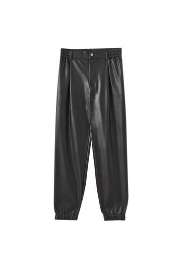Darted faux leather jogging trousers