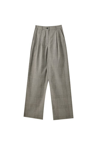 Wide-leg checked trousers