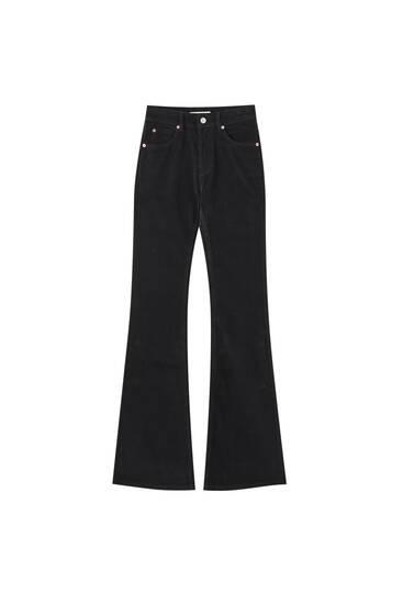 Fitilli kadife İspanyol paça pantolon