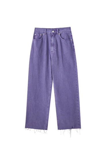 Cropped straight fit trousers