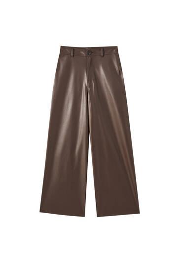 Højtaljede bukser i læderlook