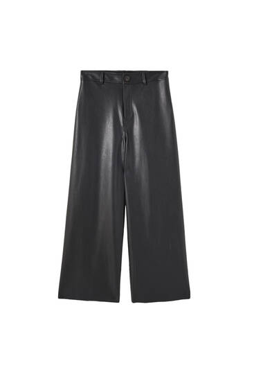 Flowing faux leather trousers