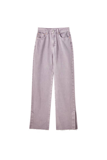 Lilla jeans med slidsdetalje