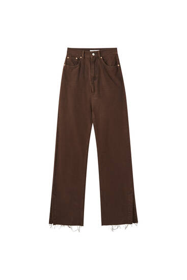 Brown straight-leg jeans
