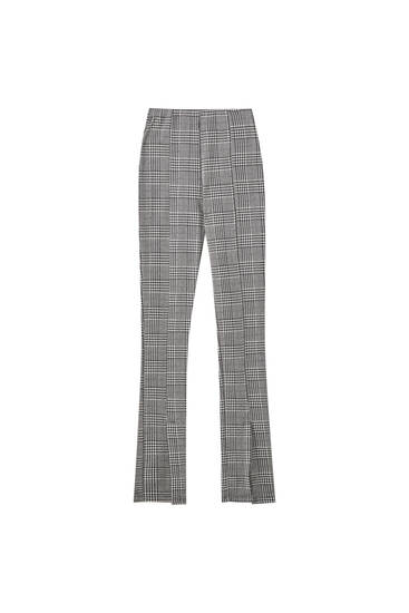 Check trousers with front slit detail