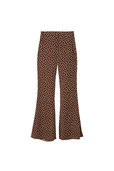 Flared polka dot trousers