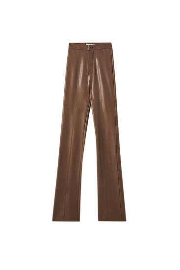 Flare faux leather trousers