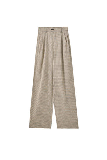 Flowing check trousers
