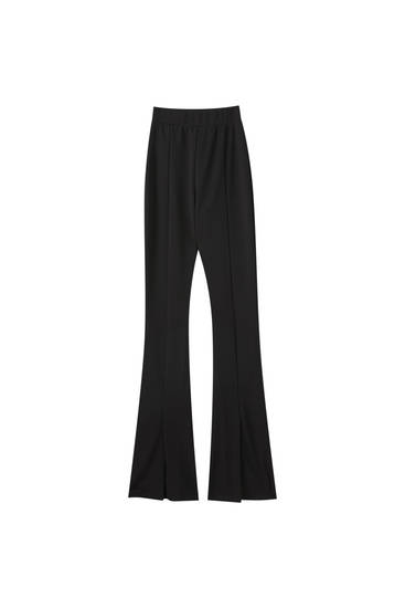 Yırtmaçlı İspanyol paça siyah pantolon