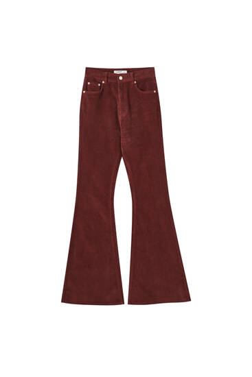 Flared maroon corduroy trousers