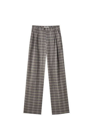 Flowing check trousers with pleats