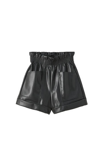 Black faux leather shorts with stretch waist