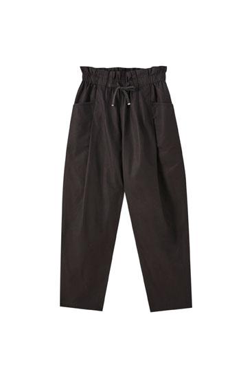 Pantalon paperbag fluide cordon
