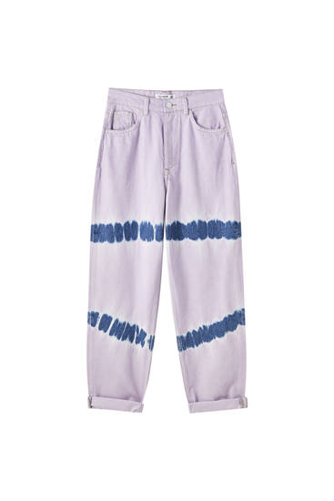 Batikfarvede, lilla jeans