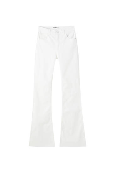 White mid-rise flared jeans