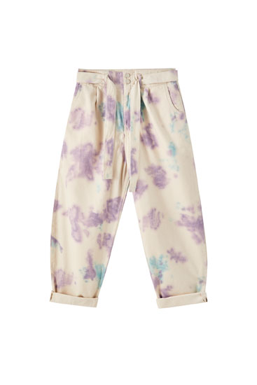 Oversized trousers with lilac tie-dye