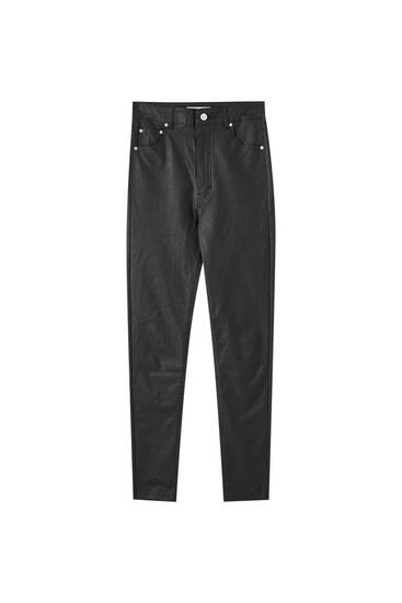 High waist coated jeans