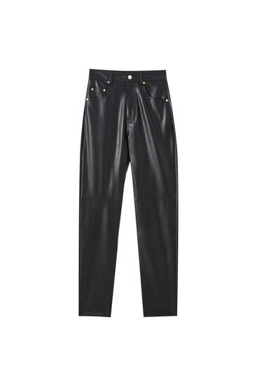 Slim fit faux leather mom jeans