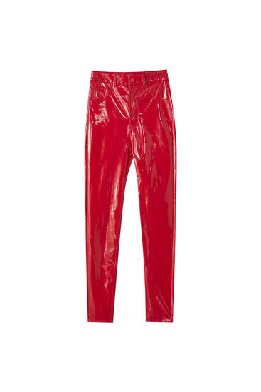 Calças de cintura subida de vinil