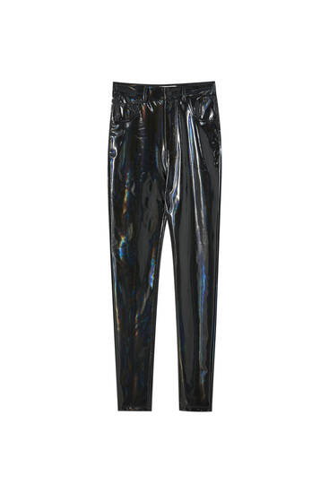 High-waist vinyl trousers