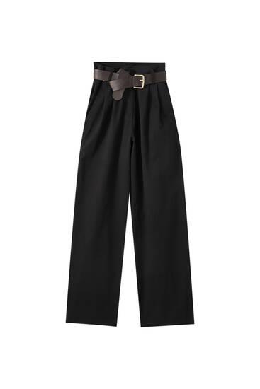 Розкльошені штани з високою посадкою та ременем