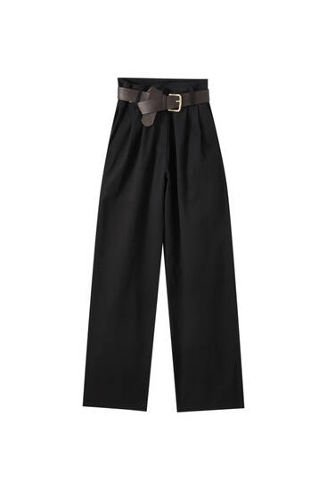 Kemerli yüksek bel İspanyol paça pantolon