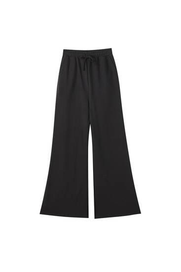 Wide-leg plush trousers