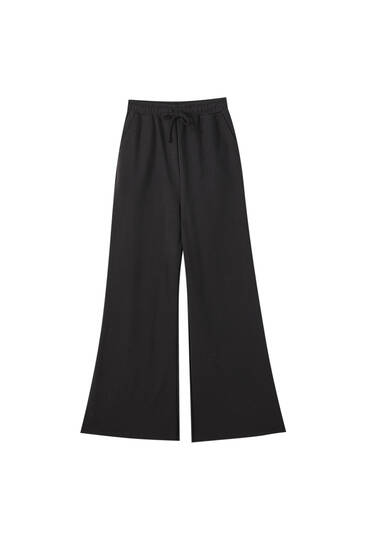 Wide-leg plush trousers