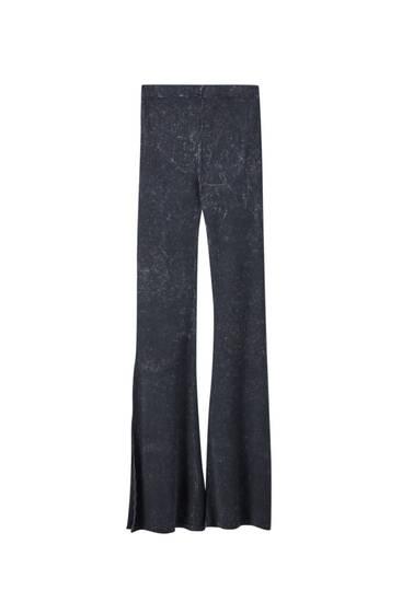 Μαύρο ξεθωριασμένο παντελόνι καμπάνα