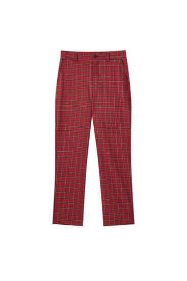 Red check trousers