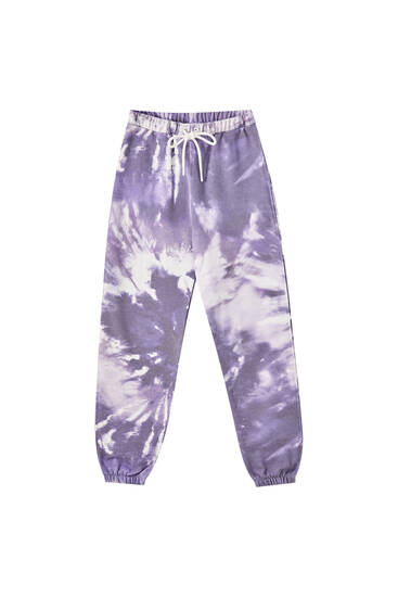 Purple tie-dye jogging trousers