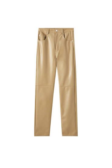 Slim mom fit faux leather trousers
