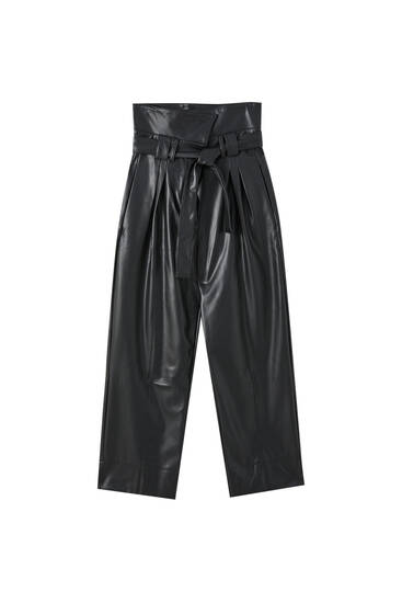 Faux leather trousers with fold-over waist