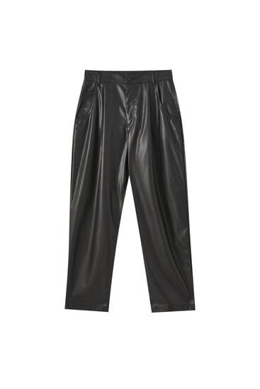 Slouchy black faux leather trousers