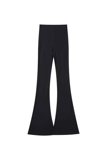 Black stretch flared trousers