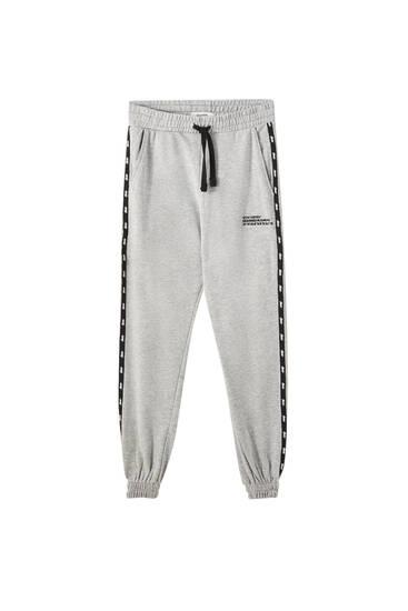 Kontrast çizgili jogging fit pantolon