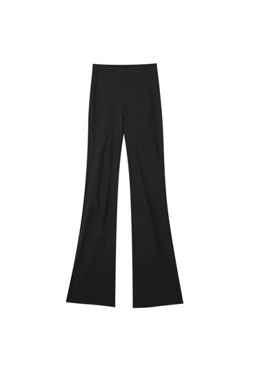 Flare trousers with side slit