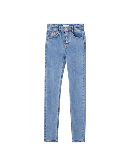 Push-up jeans with visible buttons