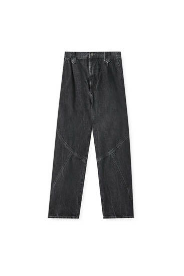 Schwarze Slouchy-Jeans