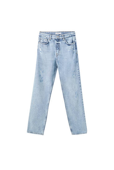 Blaue Boyfriend-Jeans mit Rissen
