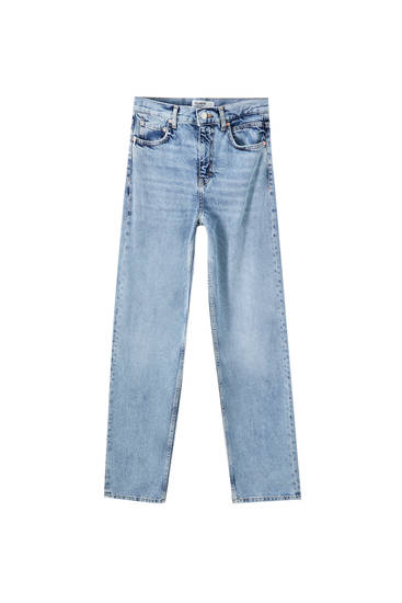 Mėlyni plačiaklešniai džinsai