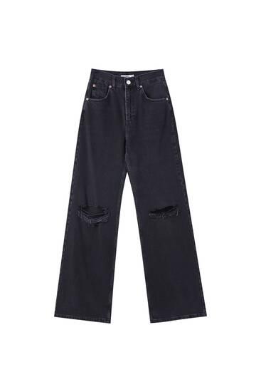 Jeans de perna larga com cintura subida