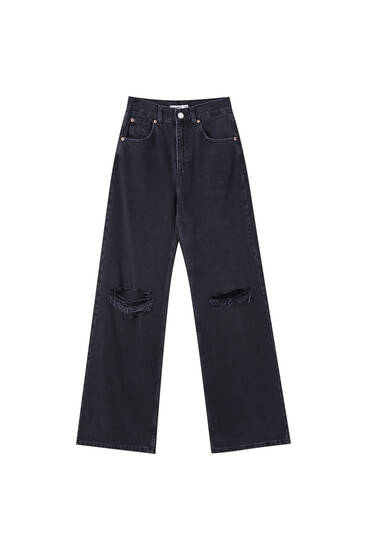 Jeans wide leg tiro alto