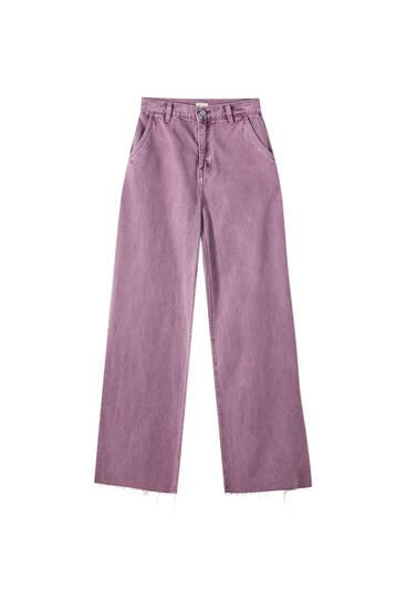 Paprasti plačiaklešniai džinsai