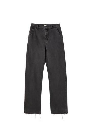 Basic-Jeans mit weitem Bein
