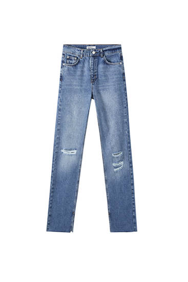 Blue high-waist jeans with slit detail
