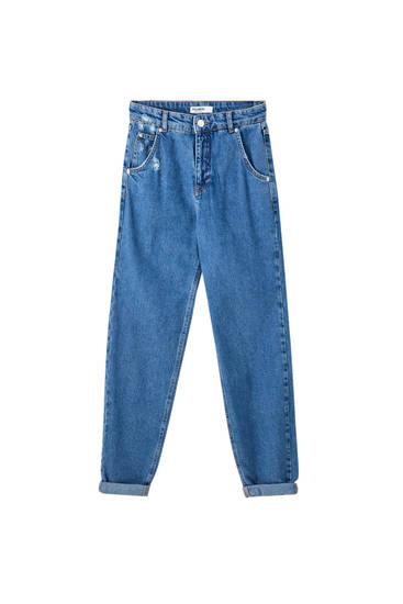 Paprasti apsmunkantys džinsai aukštu juosmeniu