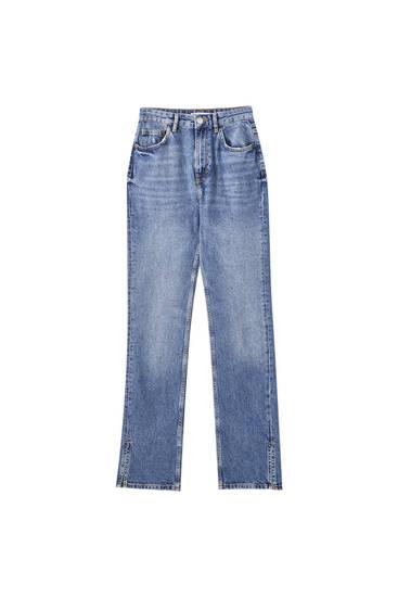 Džíny s vysokým pasem s detailem prošitých švů