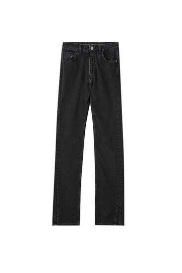 Jeans tiro alto detalle costura