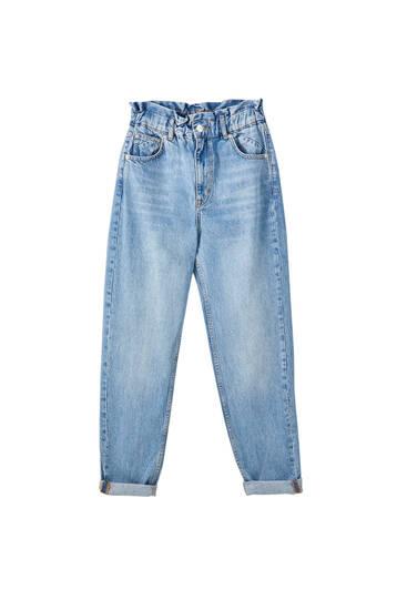 Paper bag-jeans med mom-passform